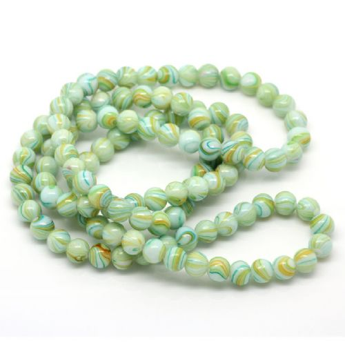 72 x 8mm Round Green Drawbench Glass Beads